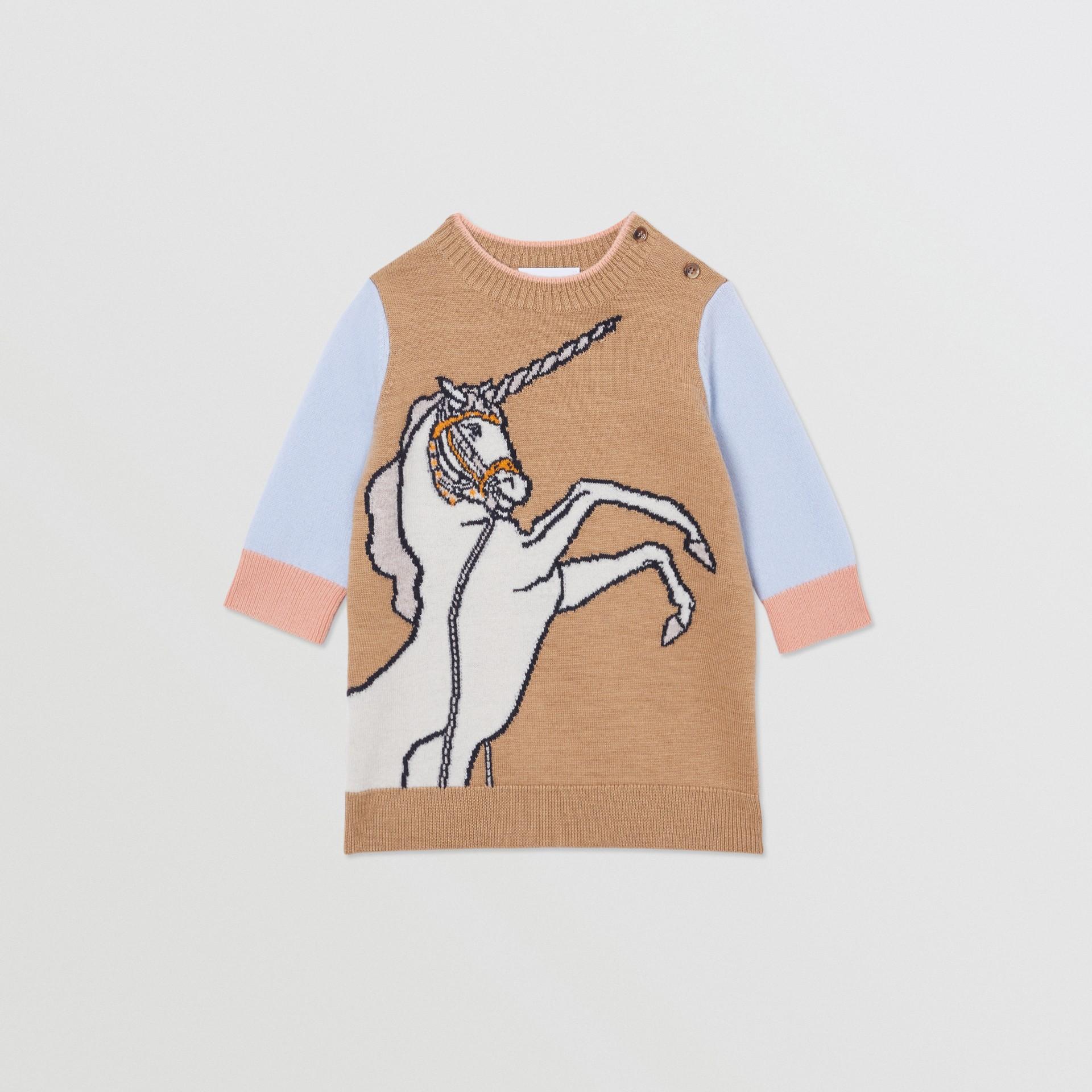 Unicorn Intarsia Wool Cashmere Dress in Camel - Children   Burberry United Kingdom - gallery image 0