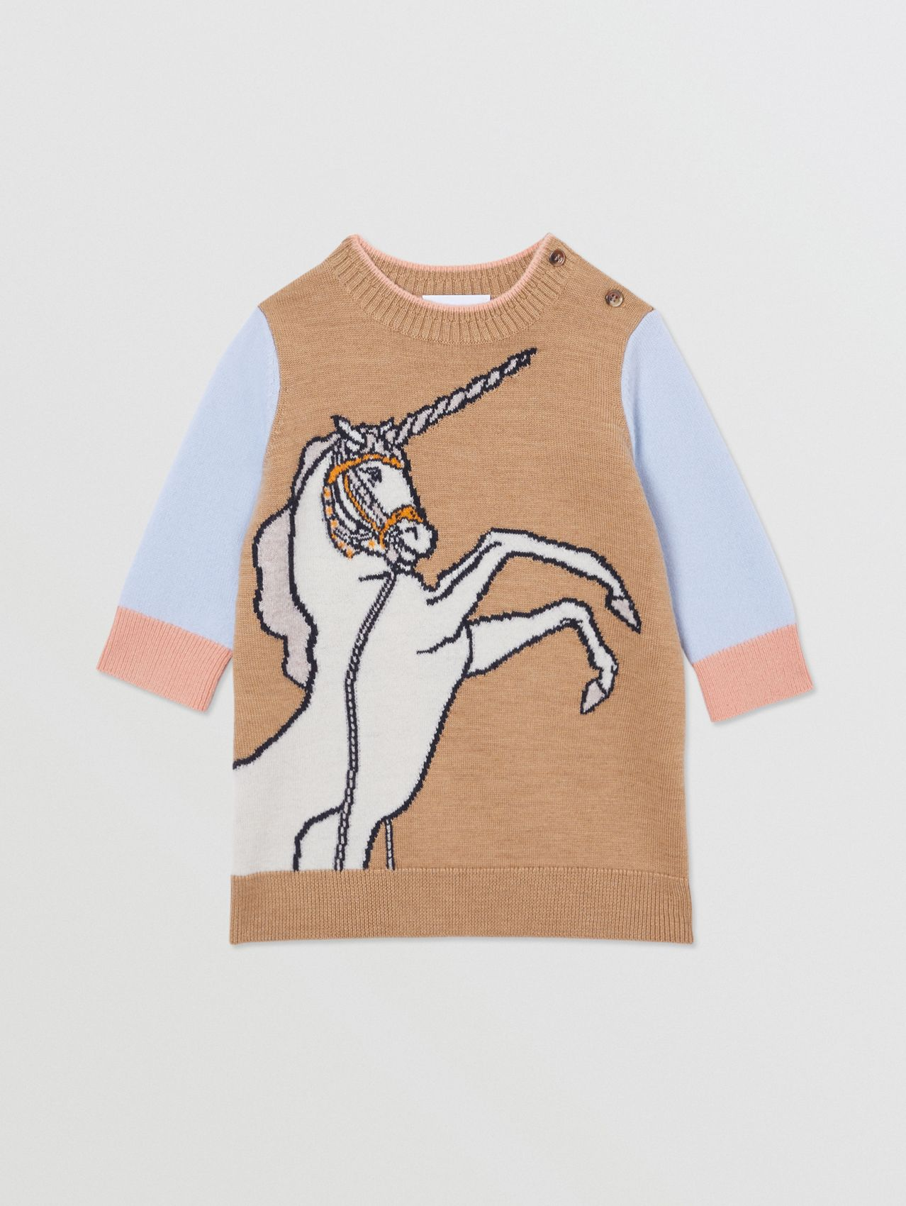 Unicorn Intarsia Wool Cashmere Dress in Camel