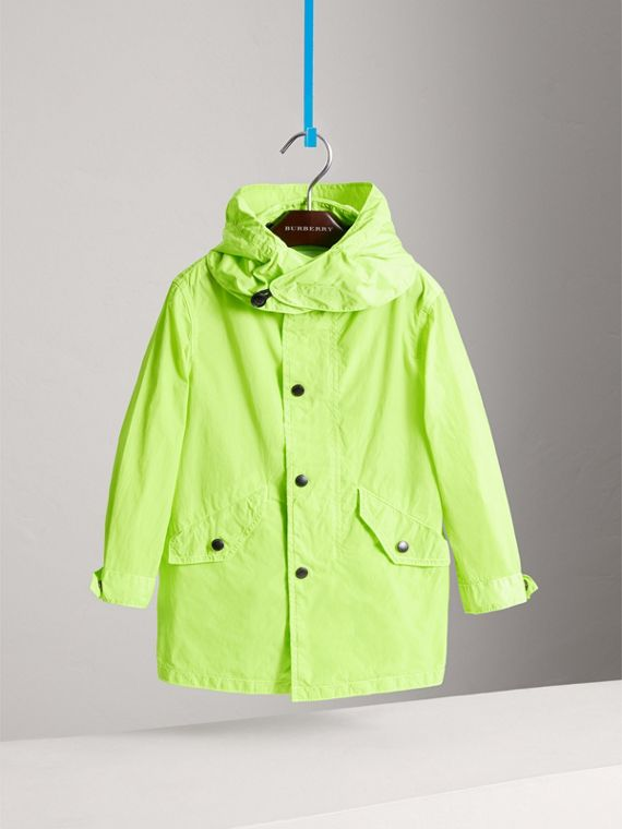 Detachable Hood Lightweight Parka Coat in Neon Yellow