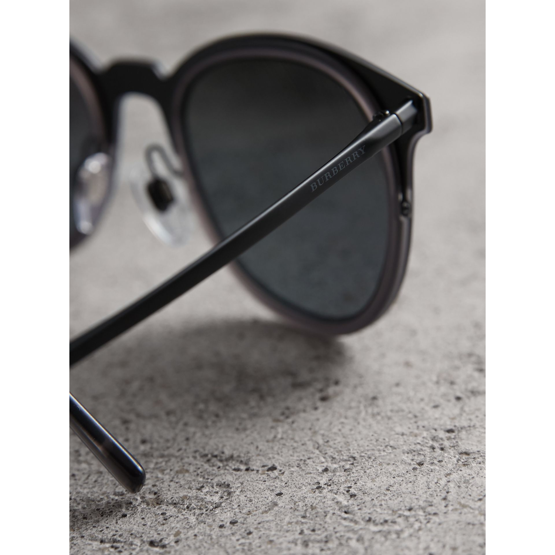 Round Frame Sunglasses in Grey - Men | Burberry United Kingdom - gallery image 1