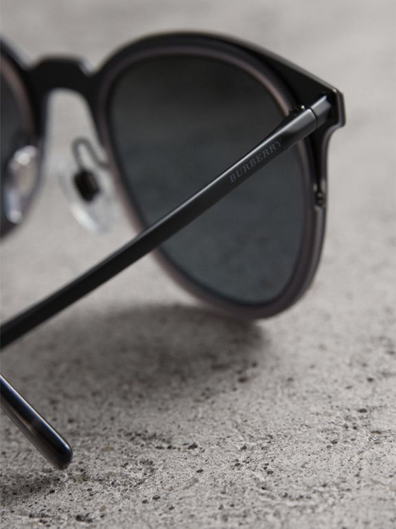 Round Frame Sunglasses in Grey - Men | Burberry - cell image 1
