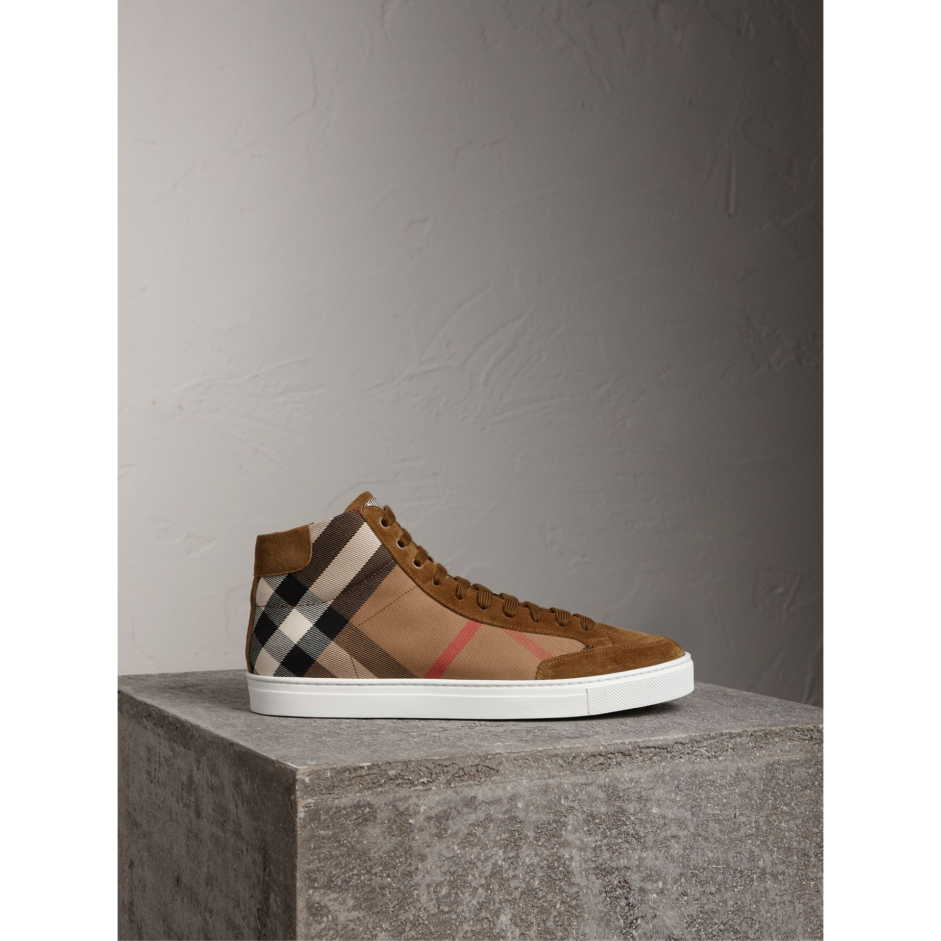 House Check Cotton and Calf Suede High-top Trainers in Flax Brown - Men | Burberry - gallery image 4
