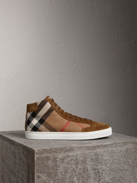 House Check Cotton and Calf Suede High-top Trainers in Flax Brown - Men | Burberry - cell image 3
