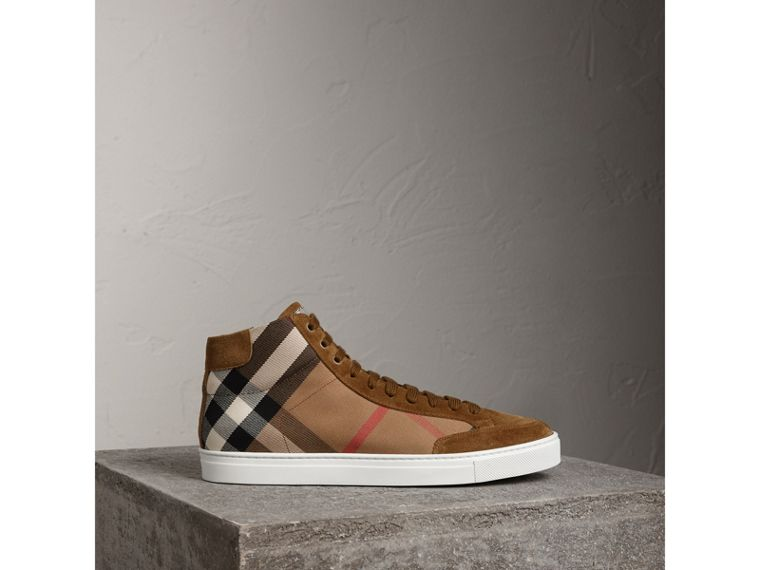 House Check Cotton and Calf Suede High-top Trainers in Flax Brown - Men | Burberry - cell image 4