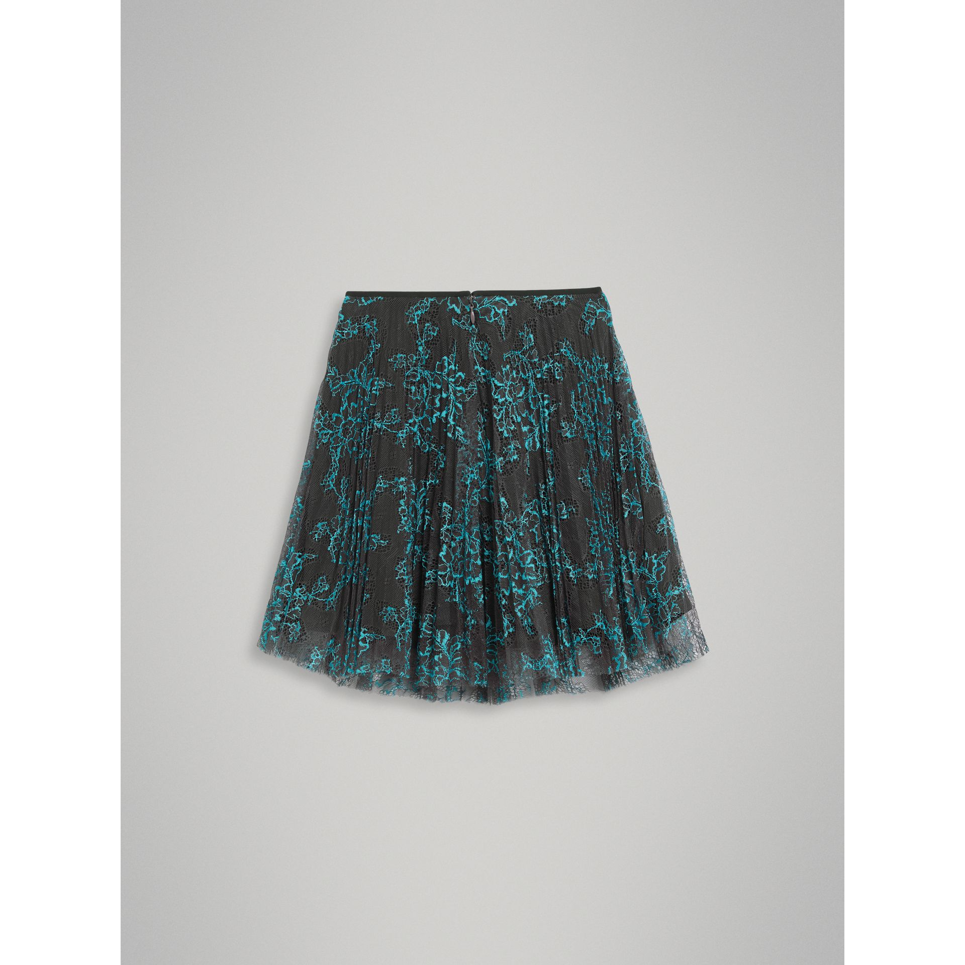 Pleated Lace Skirt in Bright Blue/taupe - Girl | Burberry - gallery image 3