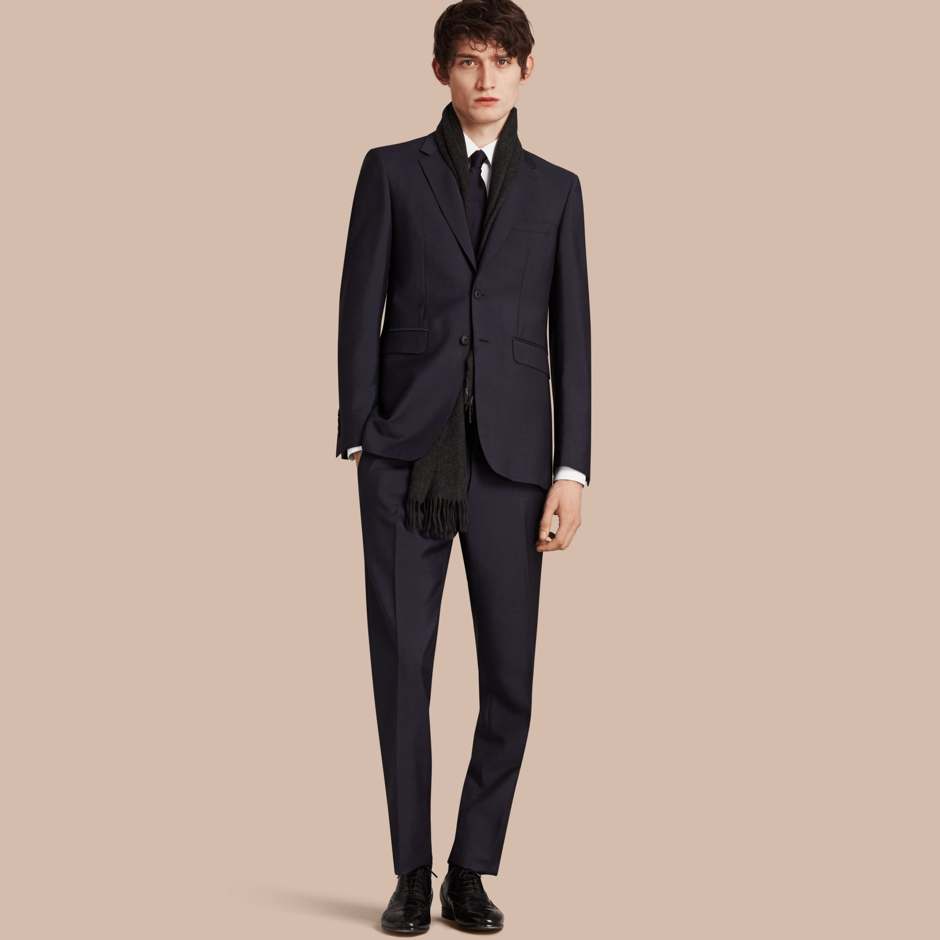 True navy Modern Fit Wool Mohair Part-canvas Suit True Navy - gallery image 1