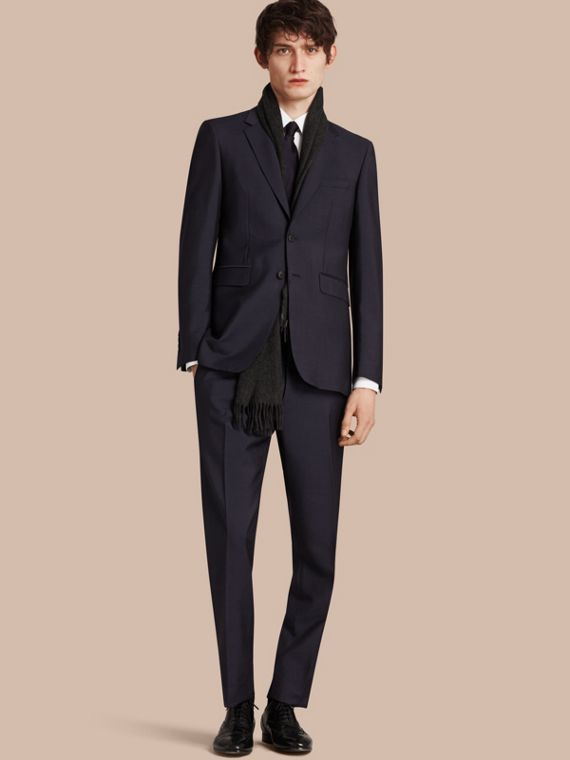 Modern Fit Wool Mohair Part-canvas Suit True Navy