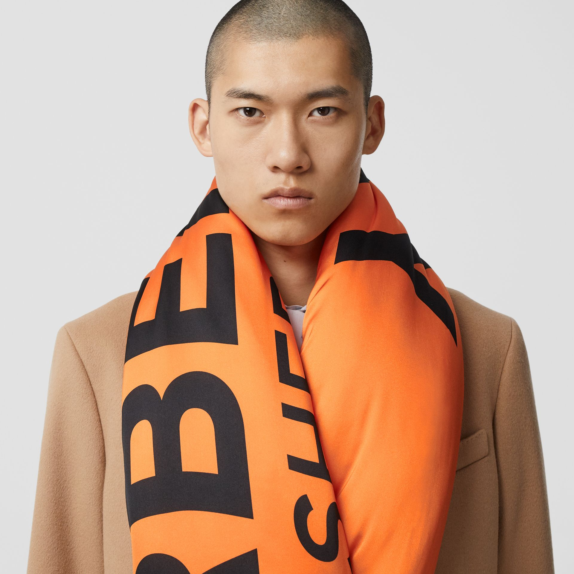 Horseferry Print Silk Puffer Scarf in Orange/black | Burberry Singapore - gallery image 3