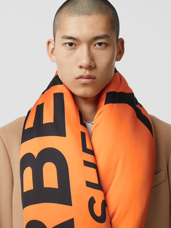Horseferry Print Silk Puffer Scarf in Orange/black | Burberry Singapore - cell image 3