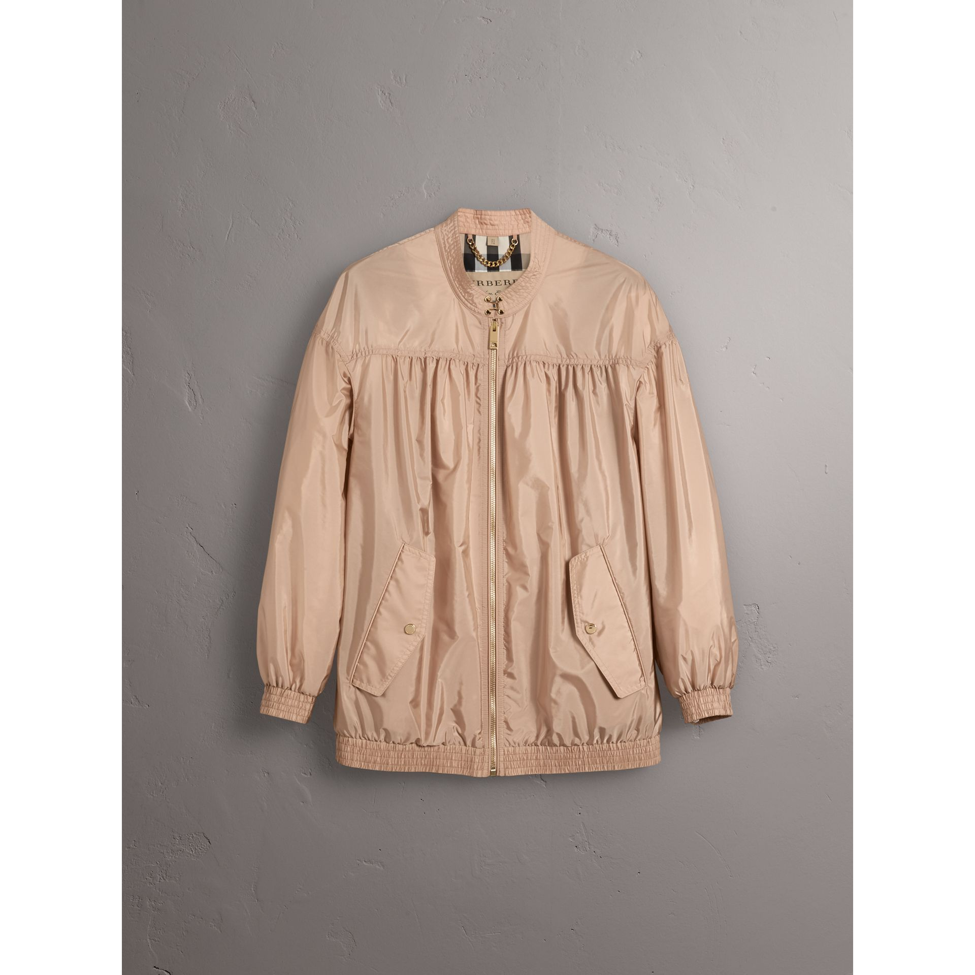 Ruched Showerproof Jacket in Ivory Pink - Women | Burberry - gallery image 4