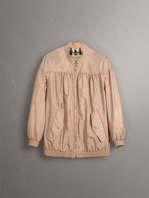 Ruched Showerproof Jacket in Ivory Pink - Women | Burberry - cell image 3
