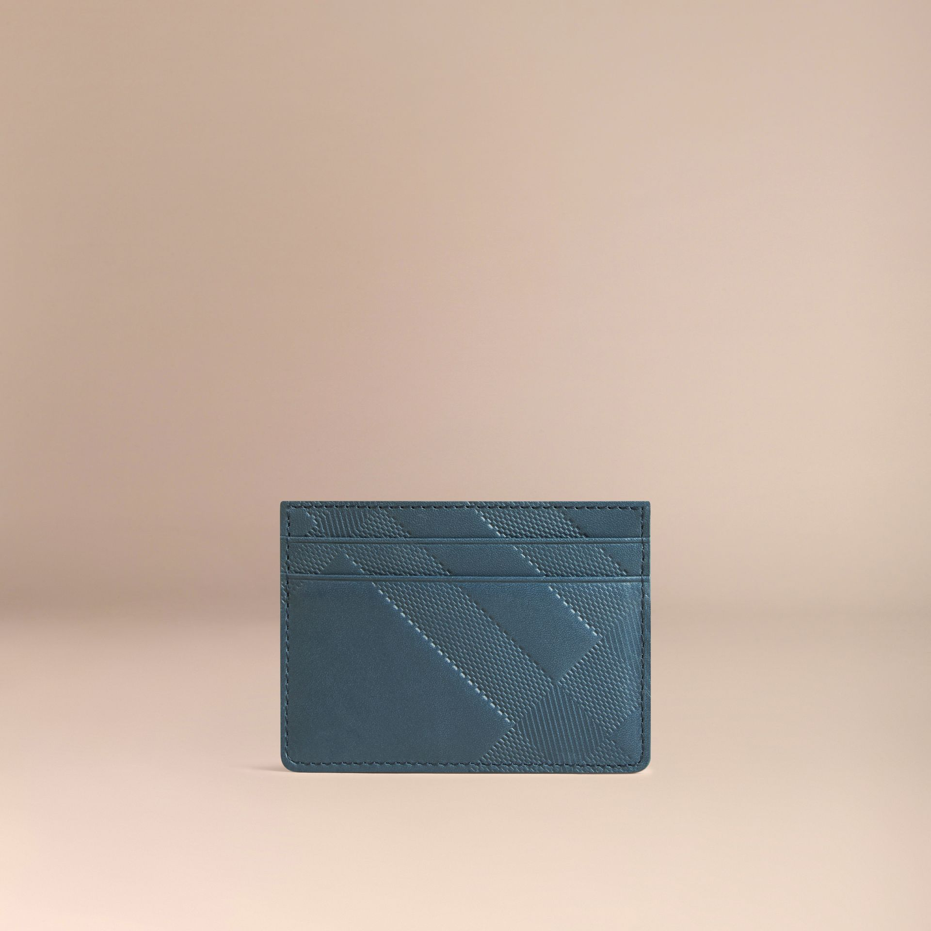 Steel blue Check Embossed Leather Card Case Steel Blue - gallery image 3