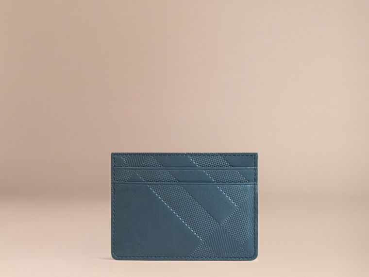 Steel blue Check Embossed Leather Card Case Steel Blue - cell image 2