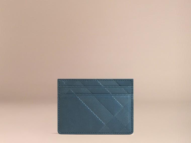 Bleu acier Porte-cartes en cuir à motif check en relief Bleu Acier - cell image 2