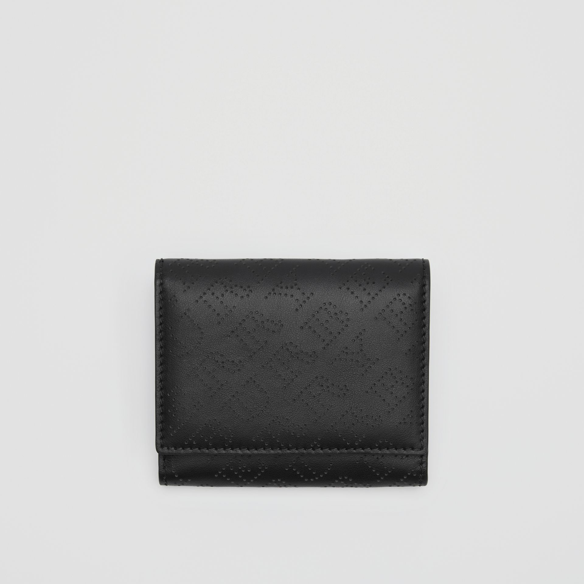 Small Perforated Logo Leather Wallet in Black - Women | Burberry - gallery image 0