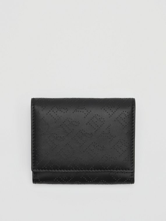 Small Perforated Logo Leather Wallet in Black