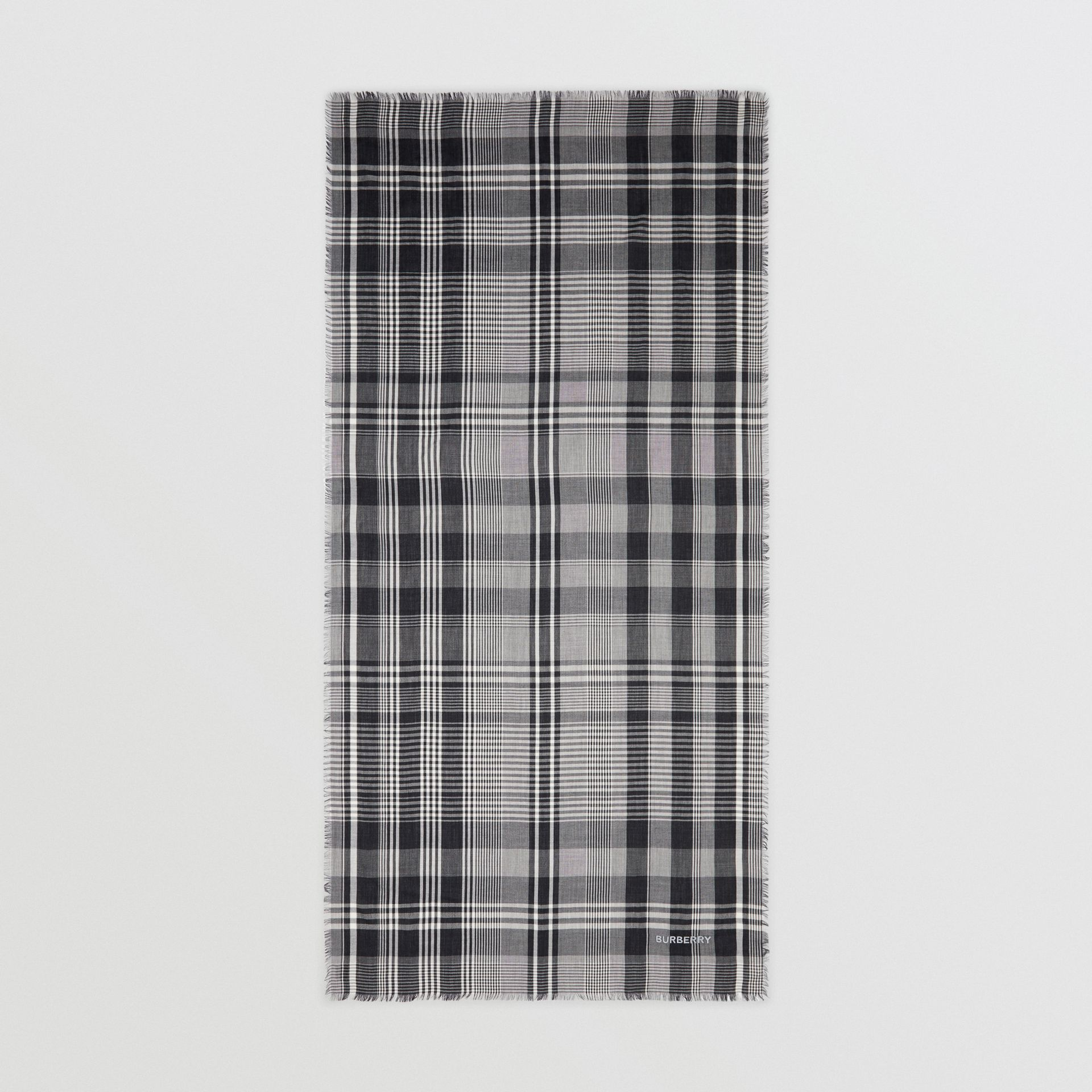 Logo Embroidered Lightweight Check Cashmere Scarf in Black/white | Burberry - gallery image 5