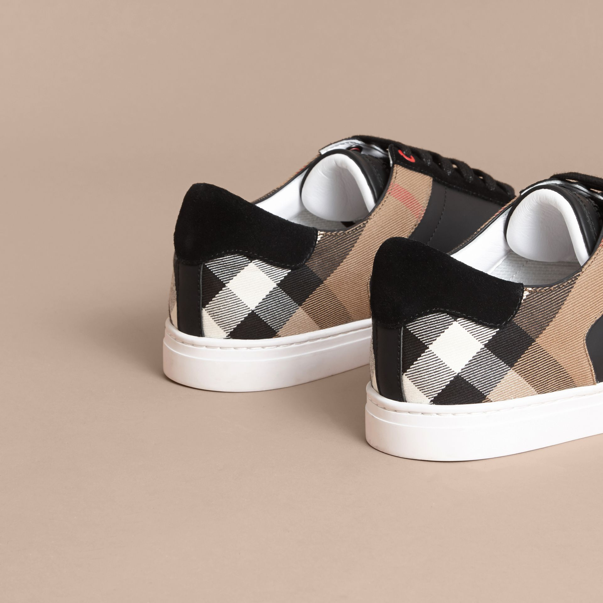 Leather and House Check Trainers in Black - Men | Burberry - gallery image 3