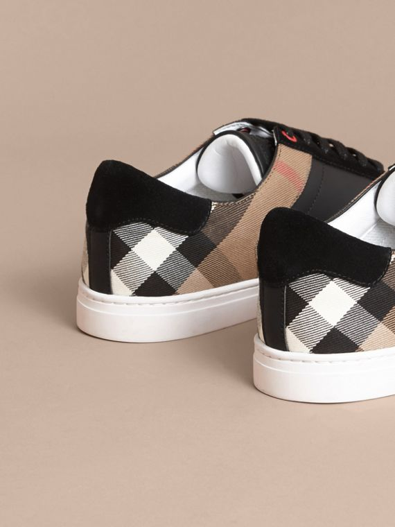 Leather and House Check Sneakers in Black - Men | Burberry Singapore - cell image 3