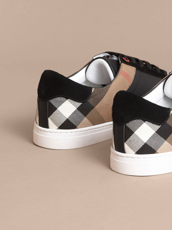 Leather and House Check Sneakers in Black - Men | Burberry Australia - cell image 3