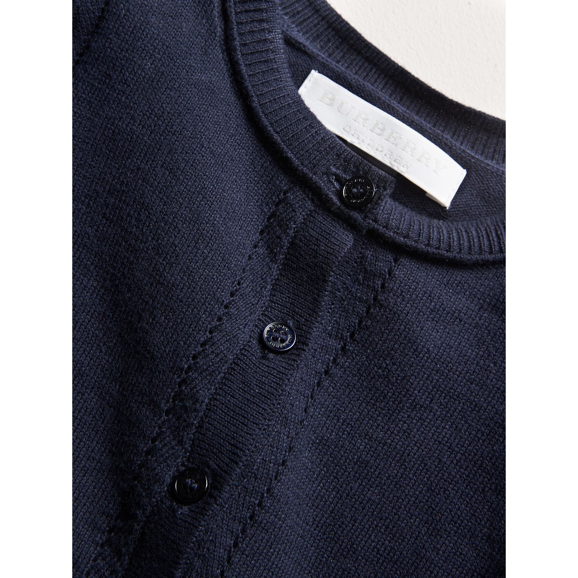 Check Cuff Cotton Cardigan in Navy | Burberry - gallery image 1
