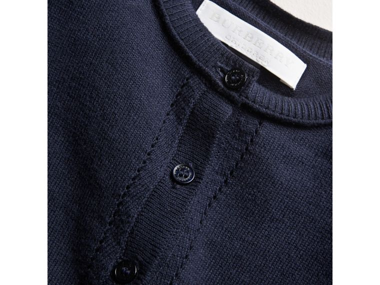Check Cuff Cotton Cardigan in Navy | Burberry - cell image 1