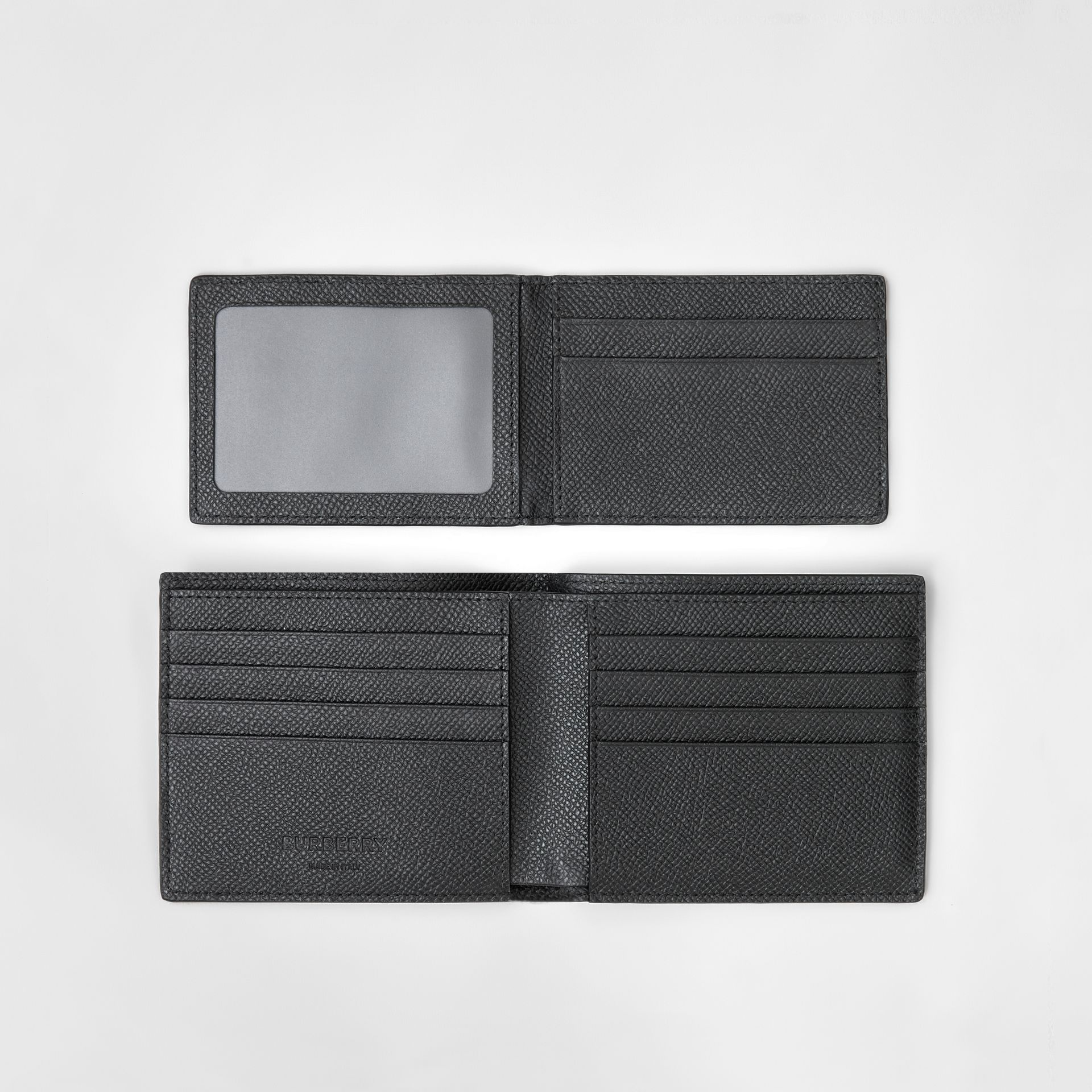 Grainy Leather Bifold Wallet with ID Card Case in Black - Men | Burberry - gallery image 5