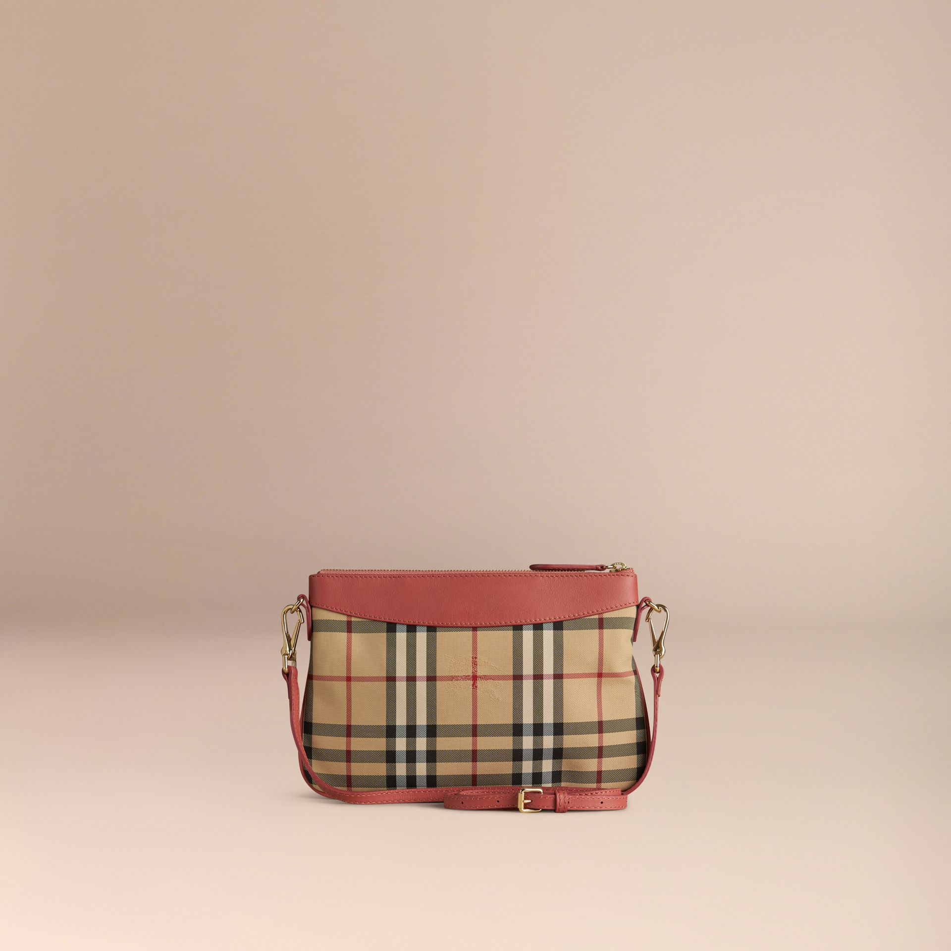 Horseferry Check and Leather Clutch Bag Antique Rose - gallery image 5