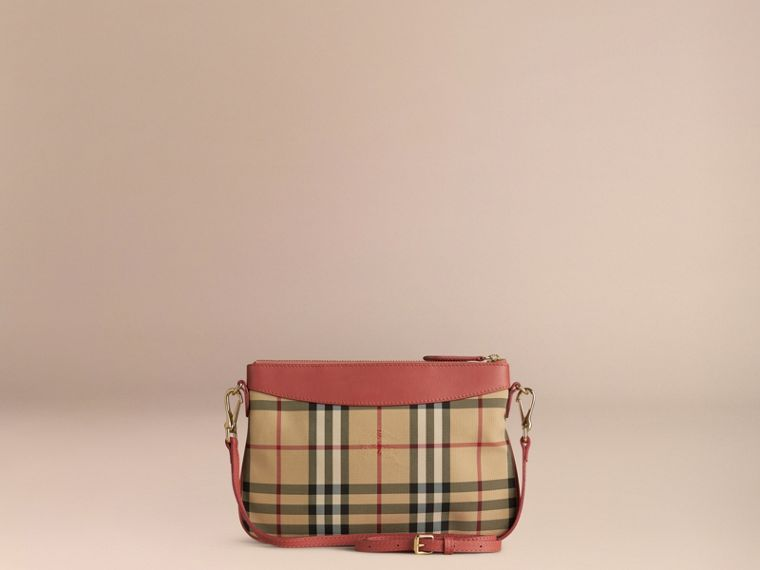Horseferry Check and Leather Clutch Bag Antique Rose - cell image 4