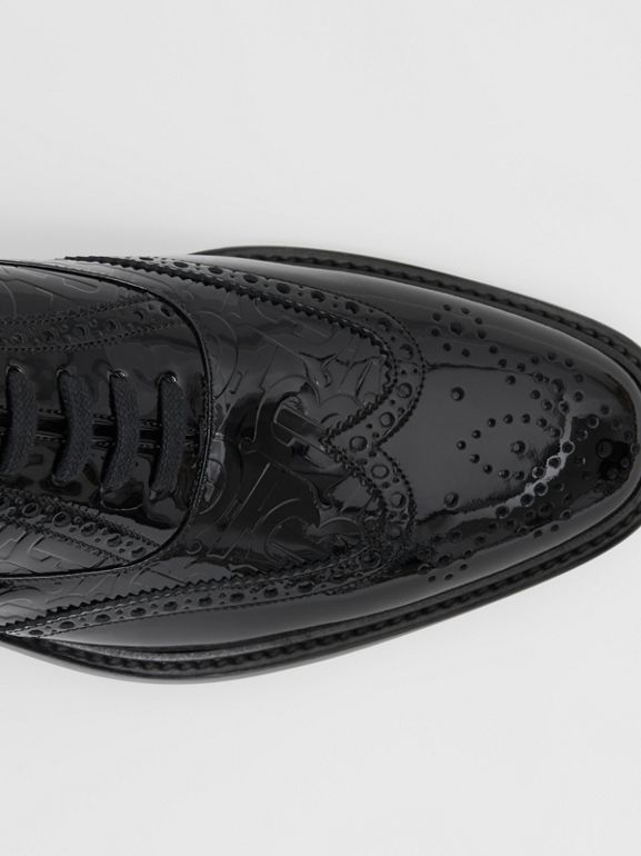 D-ring Detail Monogram Patent Leather Brogues in Black - Men | Burberry - cell image 1