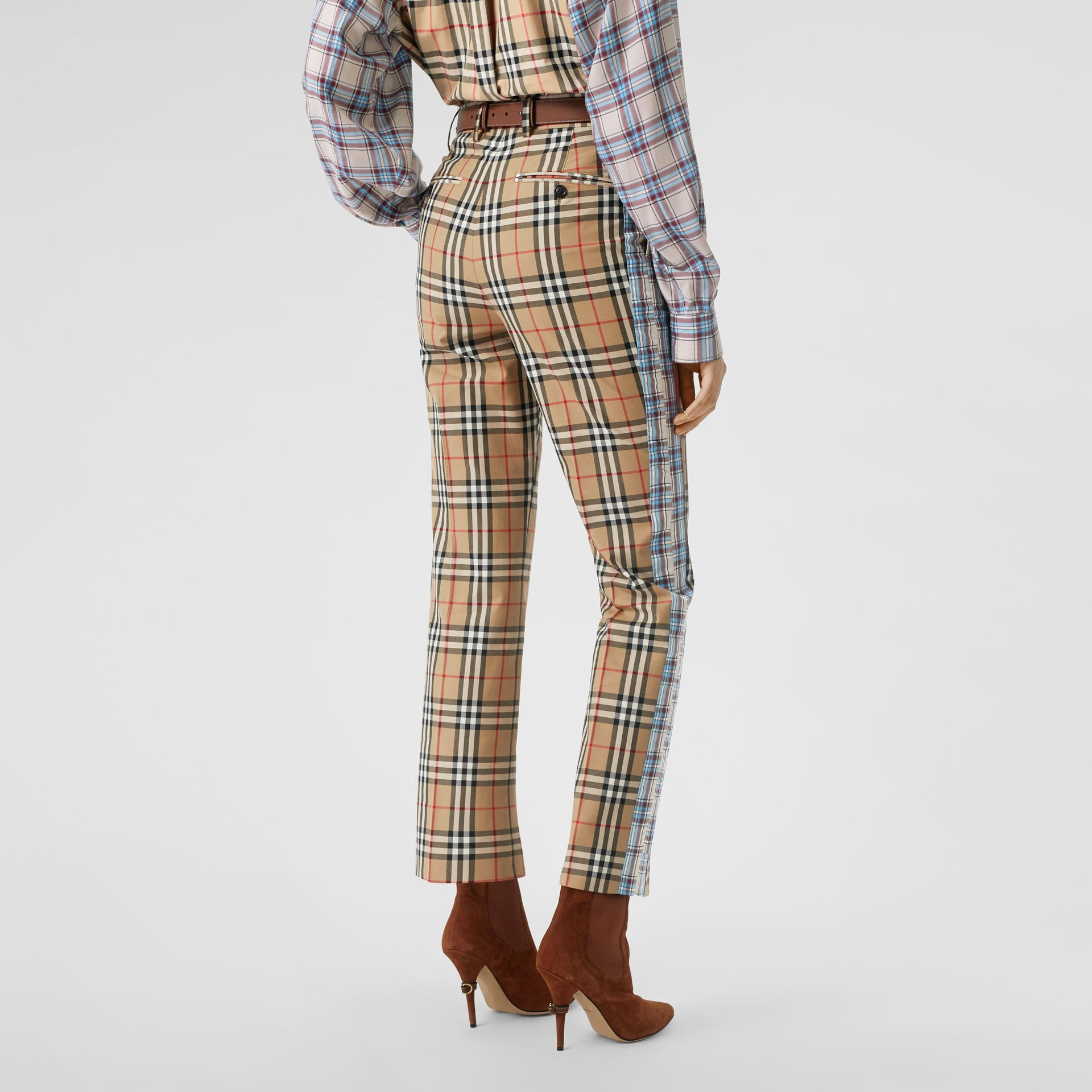 Straight Fit Contrast Check Cotton Trousers in Archive Beige - Women | Burberry Australia - gallery image 2