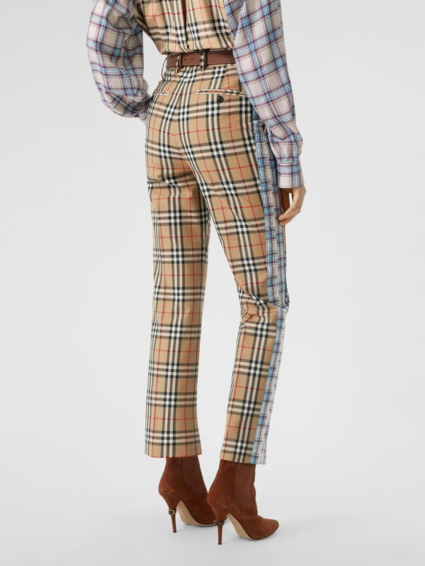 Straight Fit Contrast Check Cotton Trousers in Archive Beige - Women | Burberry Australia - cell image 2