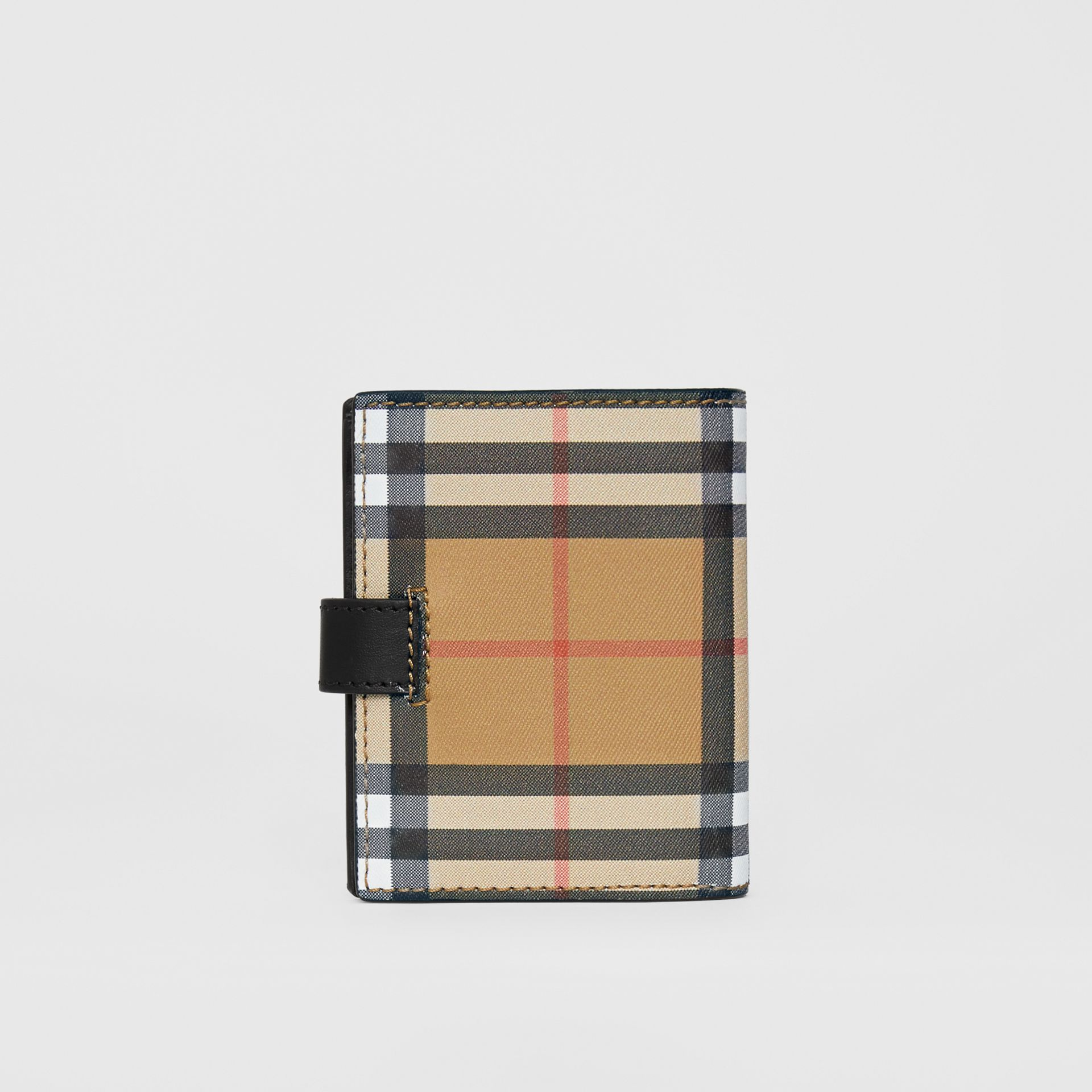 Small Vintage Check and Leather Folding Wallet in Black - Women | Burberry - gallery image 2