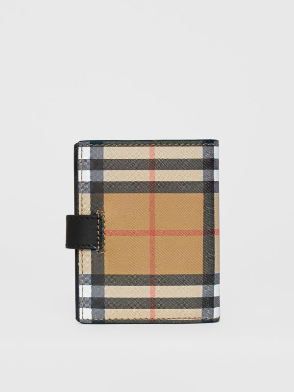 Small Vintage Check and Leather Folding Wallet in Black - Women | Burberry Canada - cell image 2
