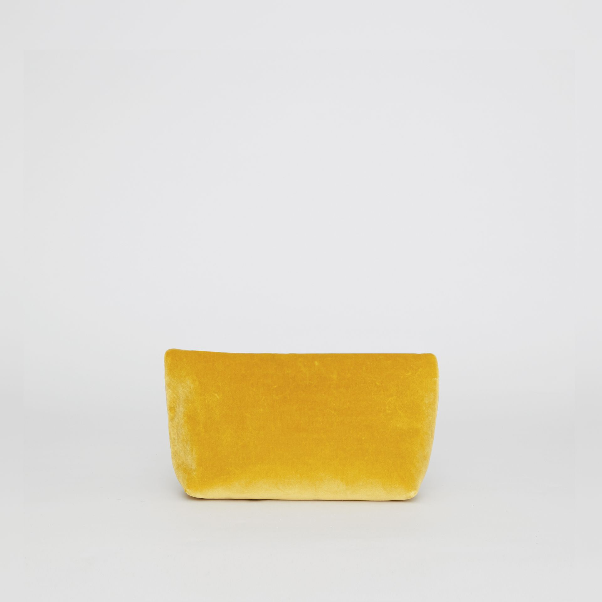 The Small Pin Clutch in Velvet in Larch Yellow - Women | Burberry United Kingdom - gallery image 4