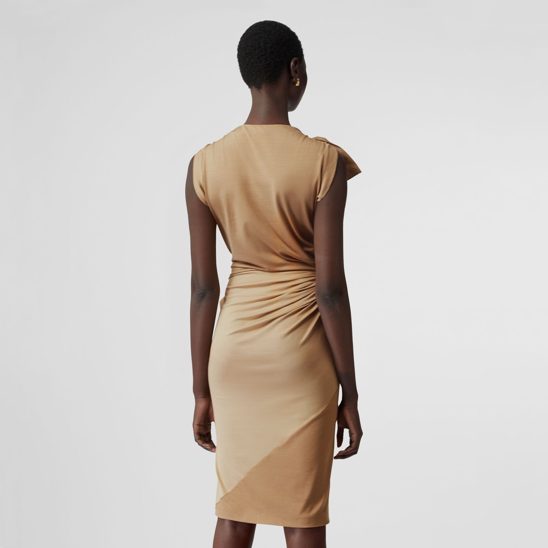 Tie Detail Tri-tone Silk Jersey Dress in Wheat - Women | Burberry - gallery image 7