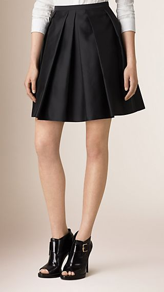 Sculptured Silk Blend Skirt