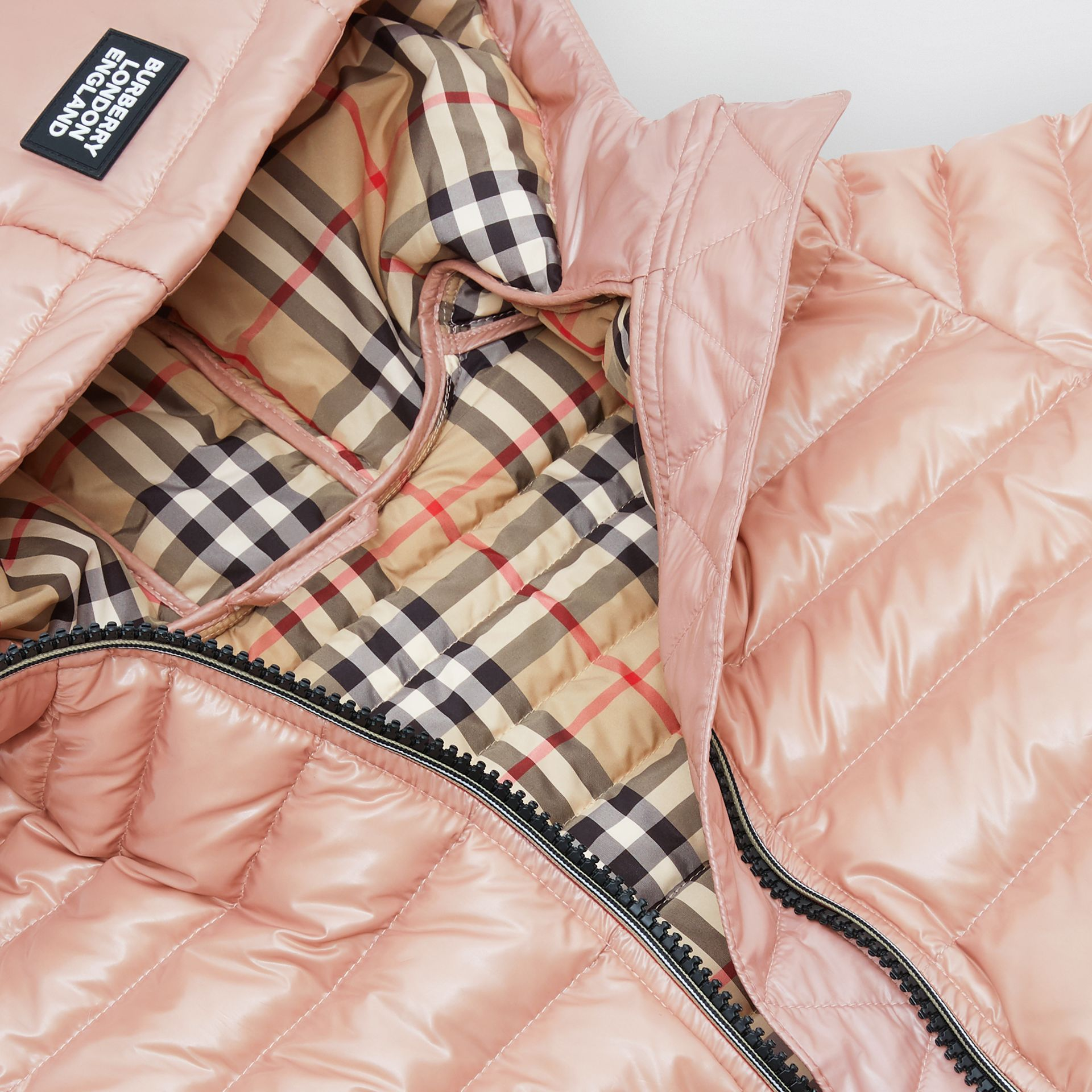 Icon Stripe Detail Down-filled Hooded Puffer Coat in Lavender Pink | Burberry - gallery image 1