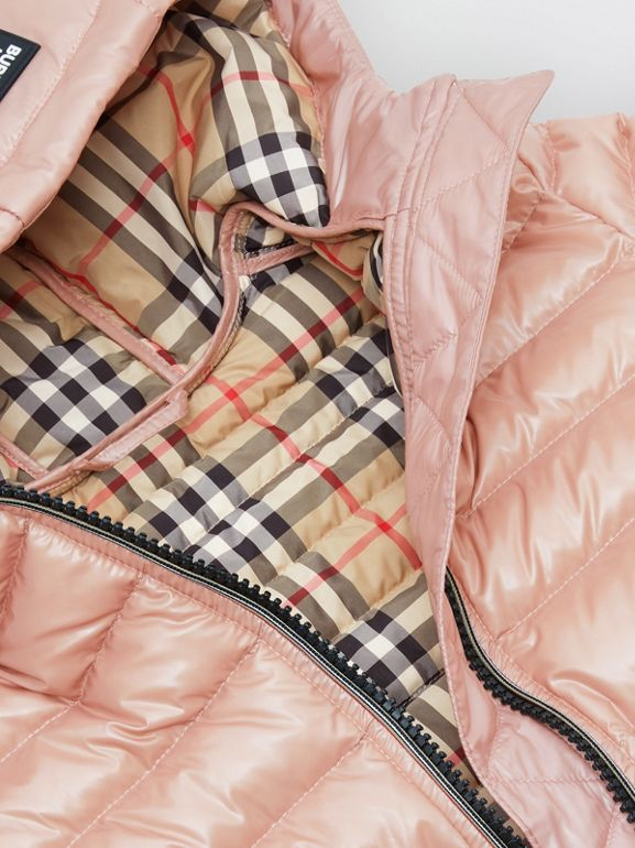 Icon Stripe Detail Down-filled Hooded Puffer Coat in Lavender Pink | Burberry - cell image 1