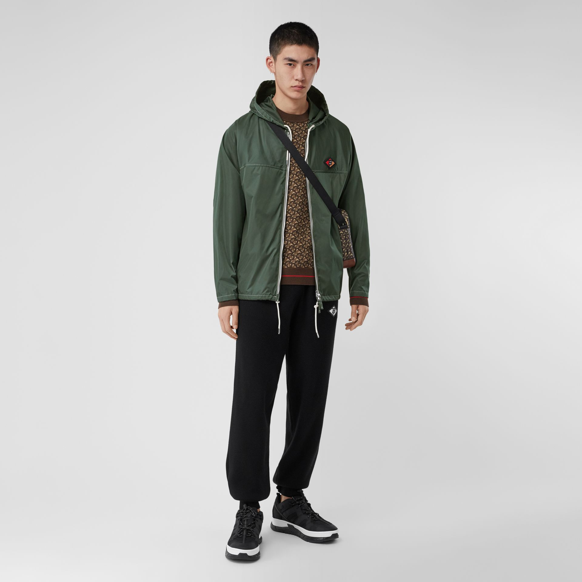 Logo Graphic Packaway Lightweight Hooded Jacket in Dark Pine Green - Men | Burberry - gallery image 0