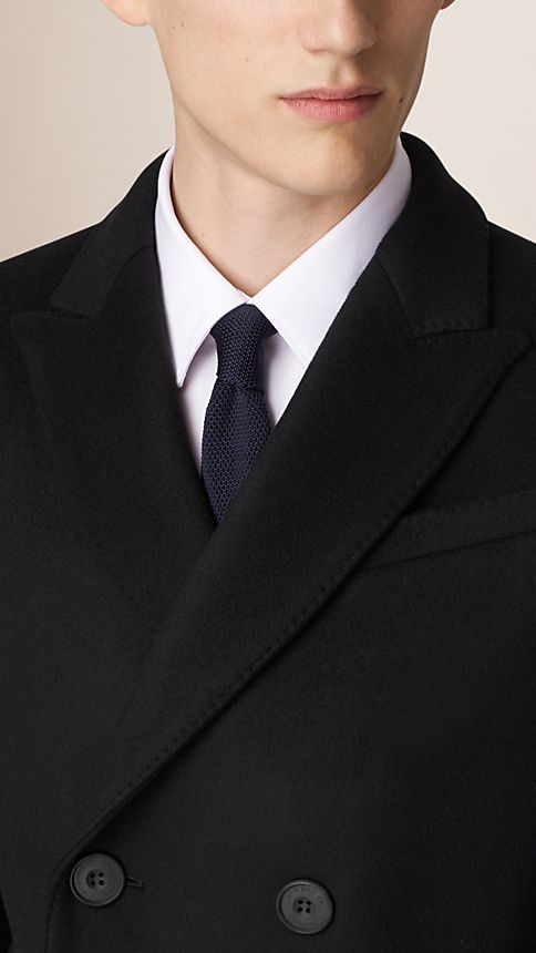 Black Wool Cashmere Peak Lapel Topcoat - Image 6
