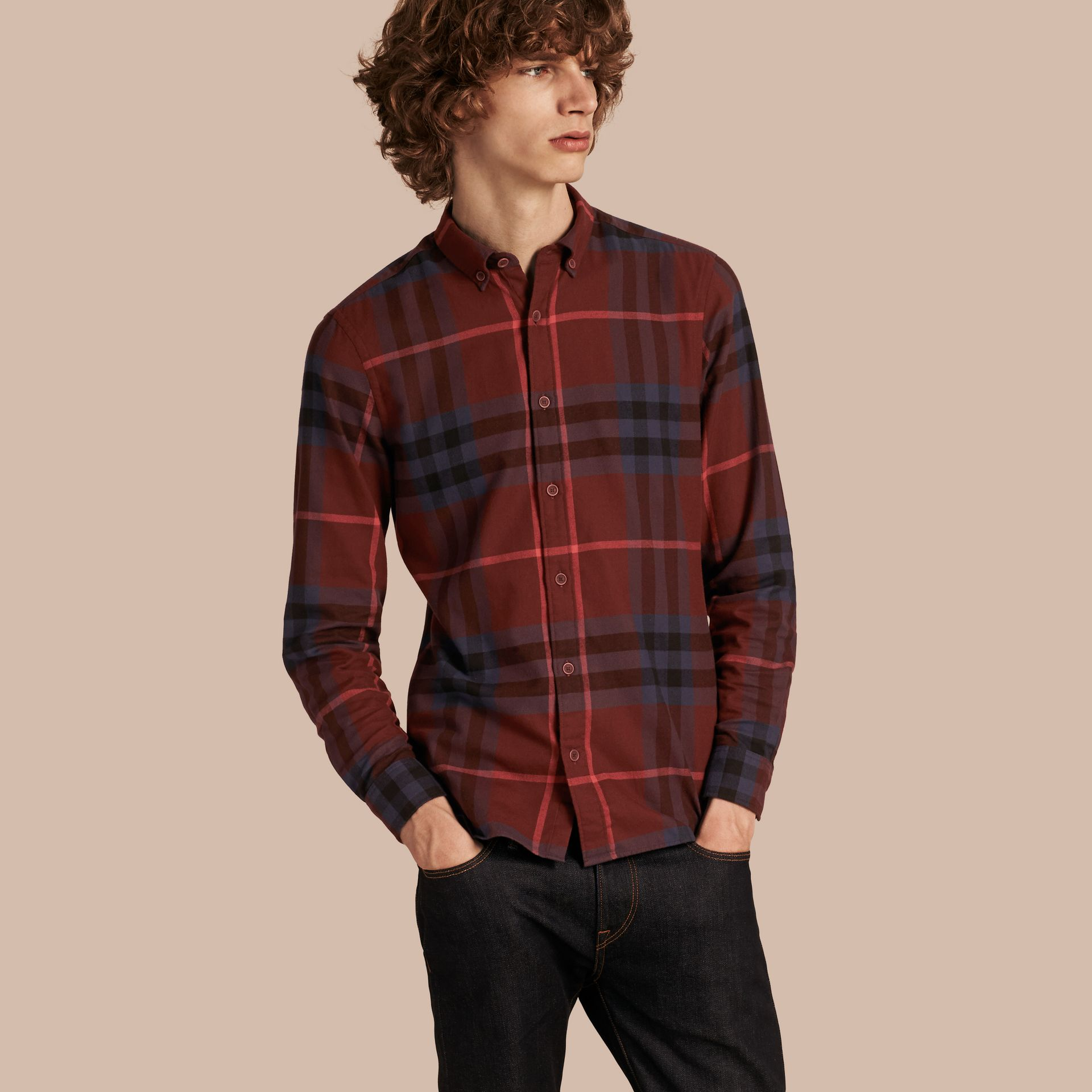 Dark elderberry Check Cotton Flannel Shirt Dark Elderberry - gallery image 1