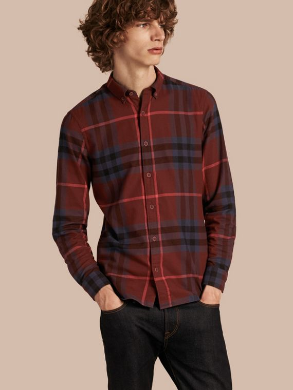 Check Cotton Flannel Shirt Dark Elderberry