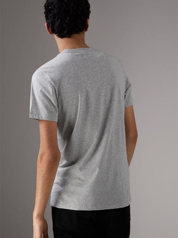 Creature Motif Cotton T-shirt in Pale Grey Melange - Men | Burberry - cell image 2