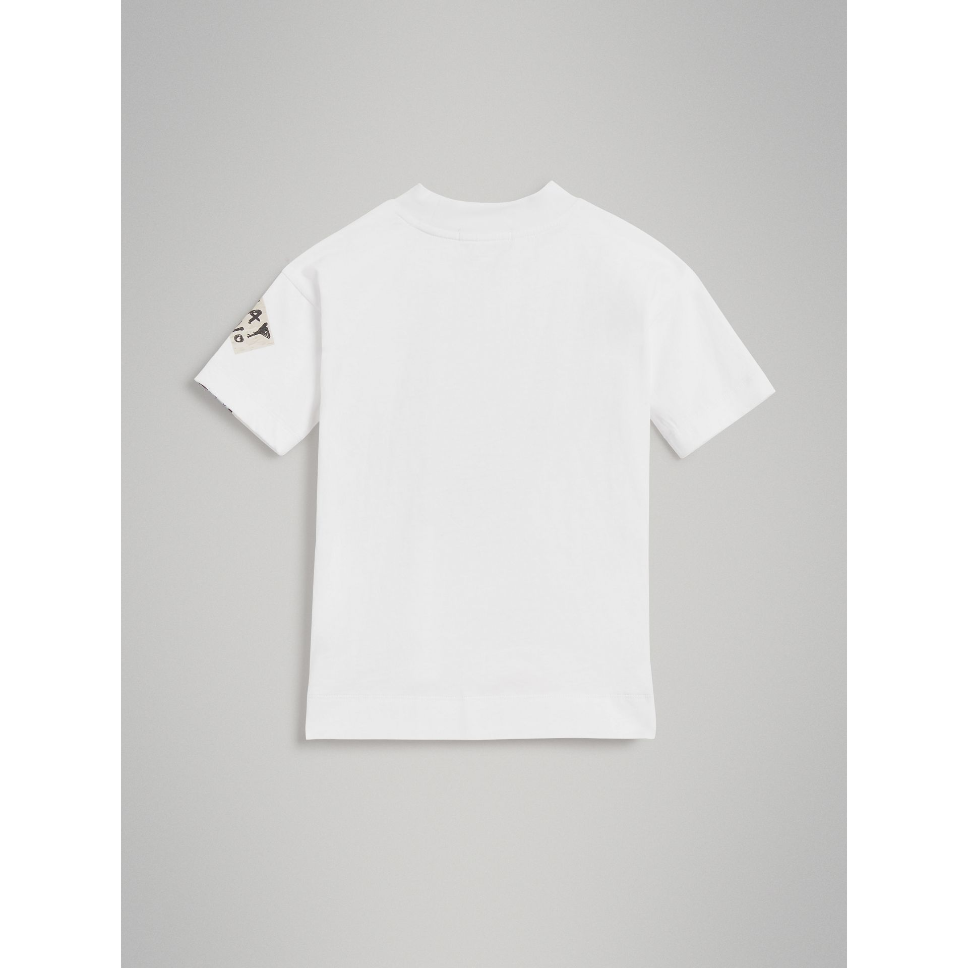 London Street Art Print Cotton T-shirt in White - Girl | Burberry United Kingdom - gallery image 3