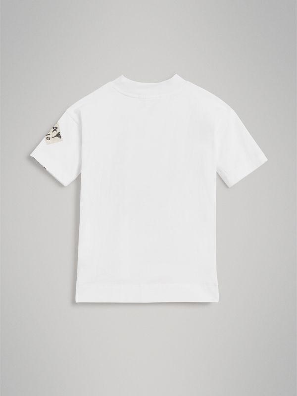 London Street Art Print Cotton T-shirt in White | Burberry - cell image 3