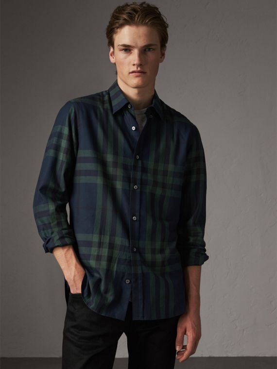 Check Cotton Cashmere Flannel Shirt in Navy
