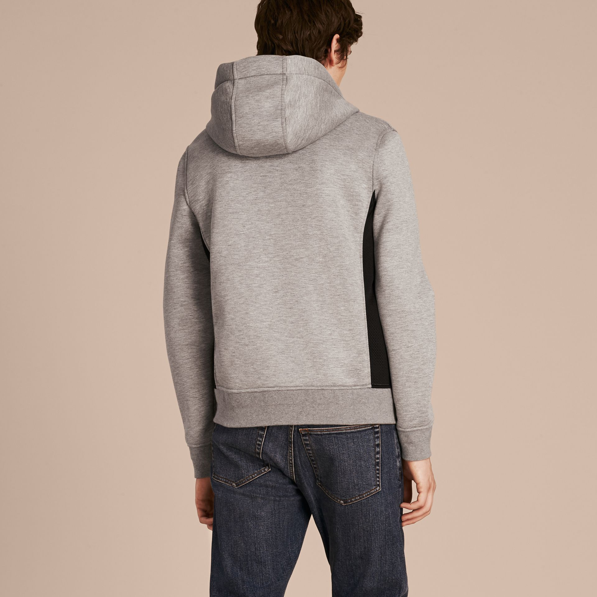 Two-tone Jersey Hooded Top Light Grey Melange - gallery image 2