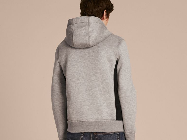 Two-tone Jersey Hooded Top Light Grey Melange - cell image 1