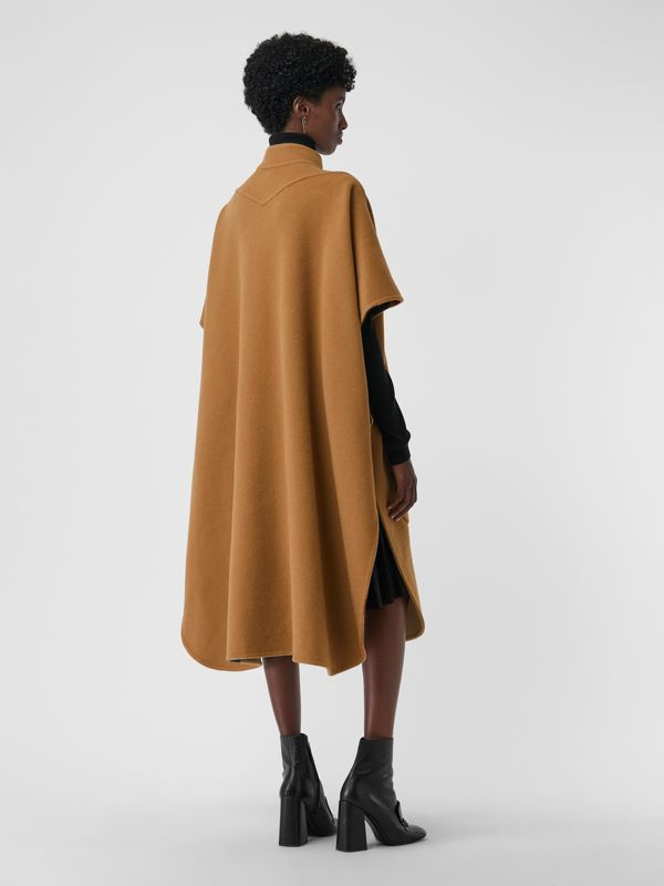 Reversible Check Oversized Poncho in Camel - Women | Burberry Canada - cell image 2